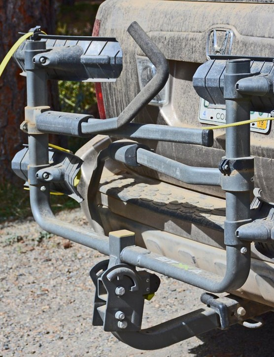 Swagman's Sitkka 2 bike rack folds up close to the vehicle when not in use