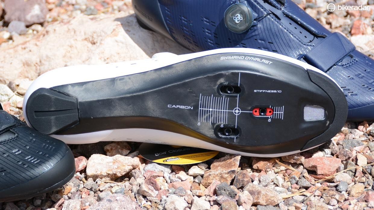 The carbon soles have a stiffness rating of 10 out of 12 according to Shimano