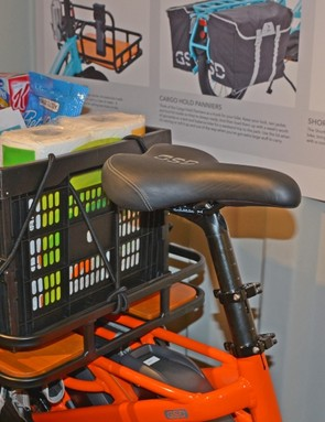 Cargo is easily hauled in the optional basket or panniers