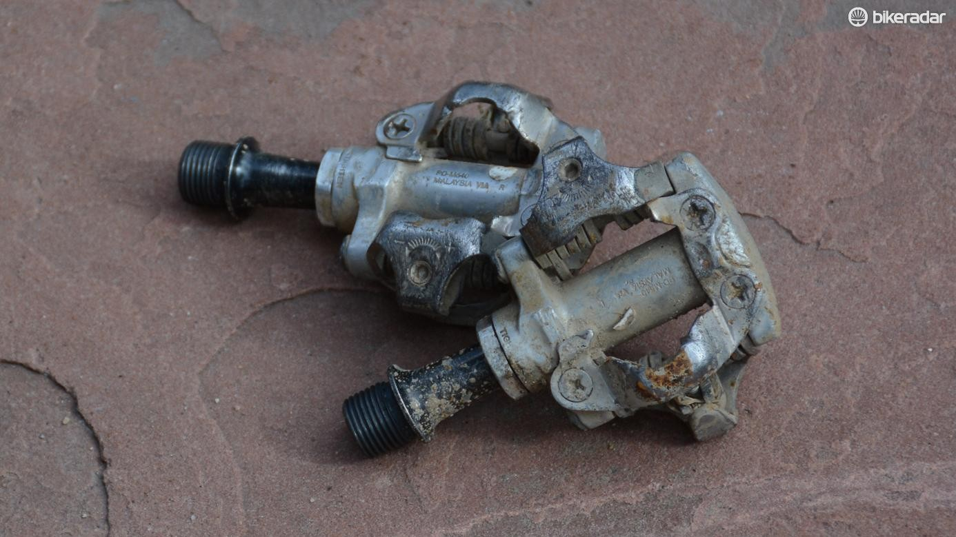 These Shimano SPD pedals might look tired but they still function as they should