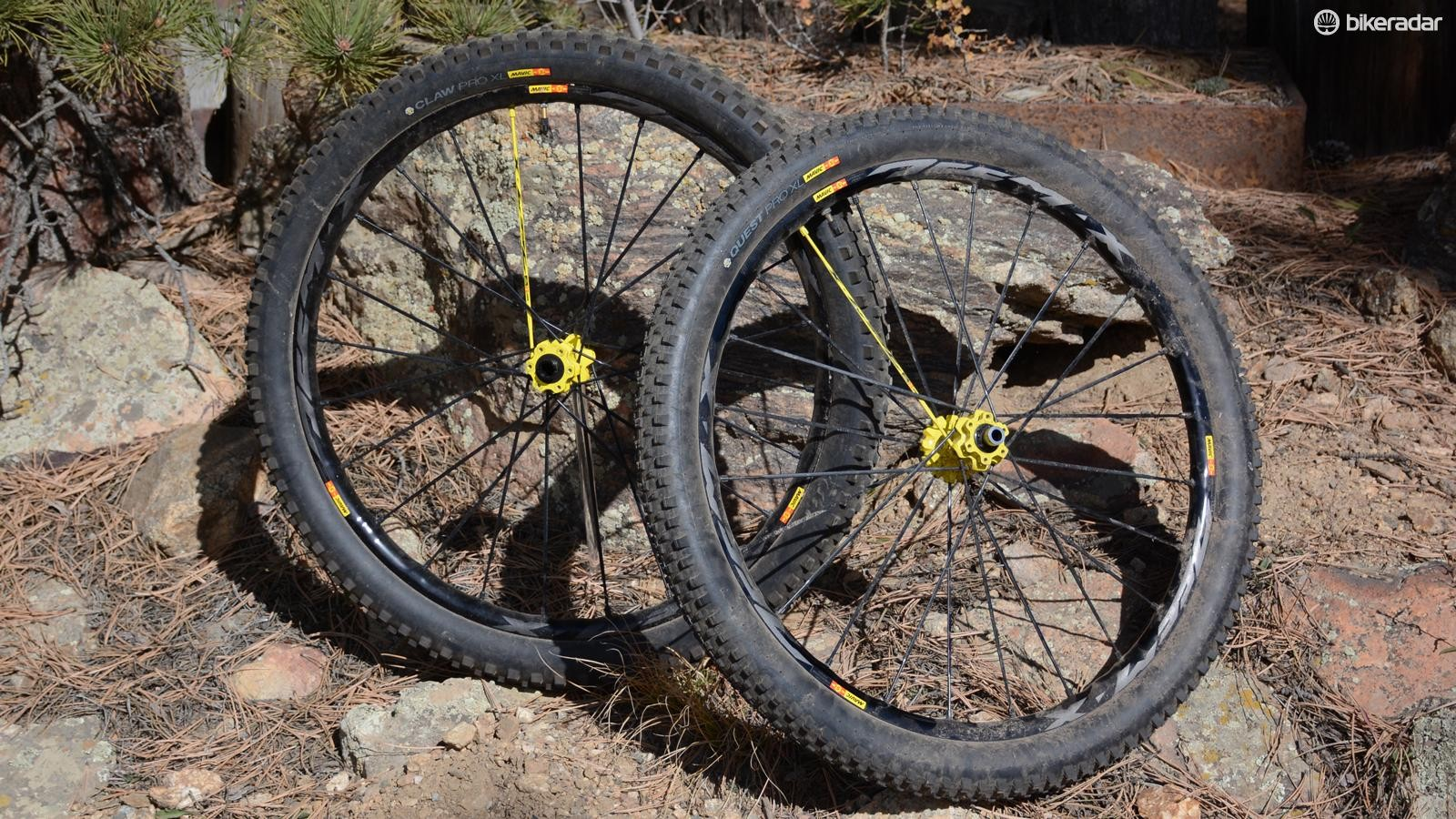Mavic's Deemax Pros are still very much gravity-focused, despite only having a small bit of the trademark yellow