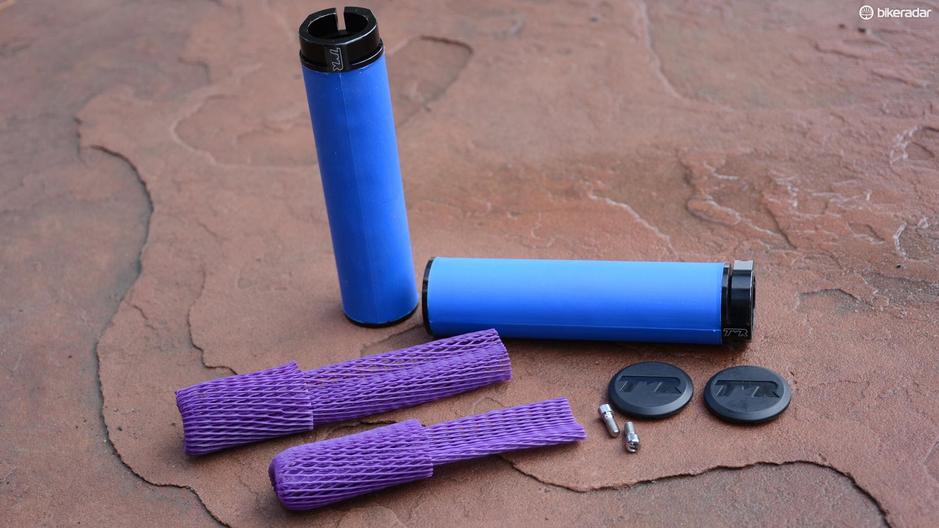 The kit includes the lock-on grips, bar end caps, titanium screws and mesh for adding texture to the grips