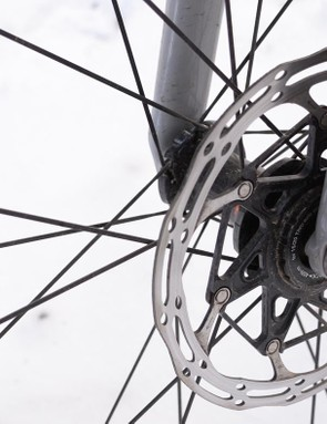 The front thru-axle requires a 6mm hex. I wish bike companies would just choose one or the other for both wheels