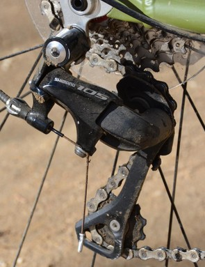 Shimano's 105 rear derailleur ticks off the 11 gears but sadly doesn't have a clutch