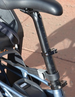 The seatpost is telescoping to fit a huge range of rider heights as well to make the bike smaller when folded