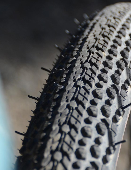 The center tread rolls fast on hardpack gravel as well as pavement