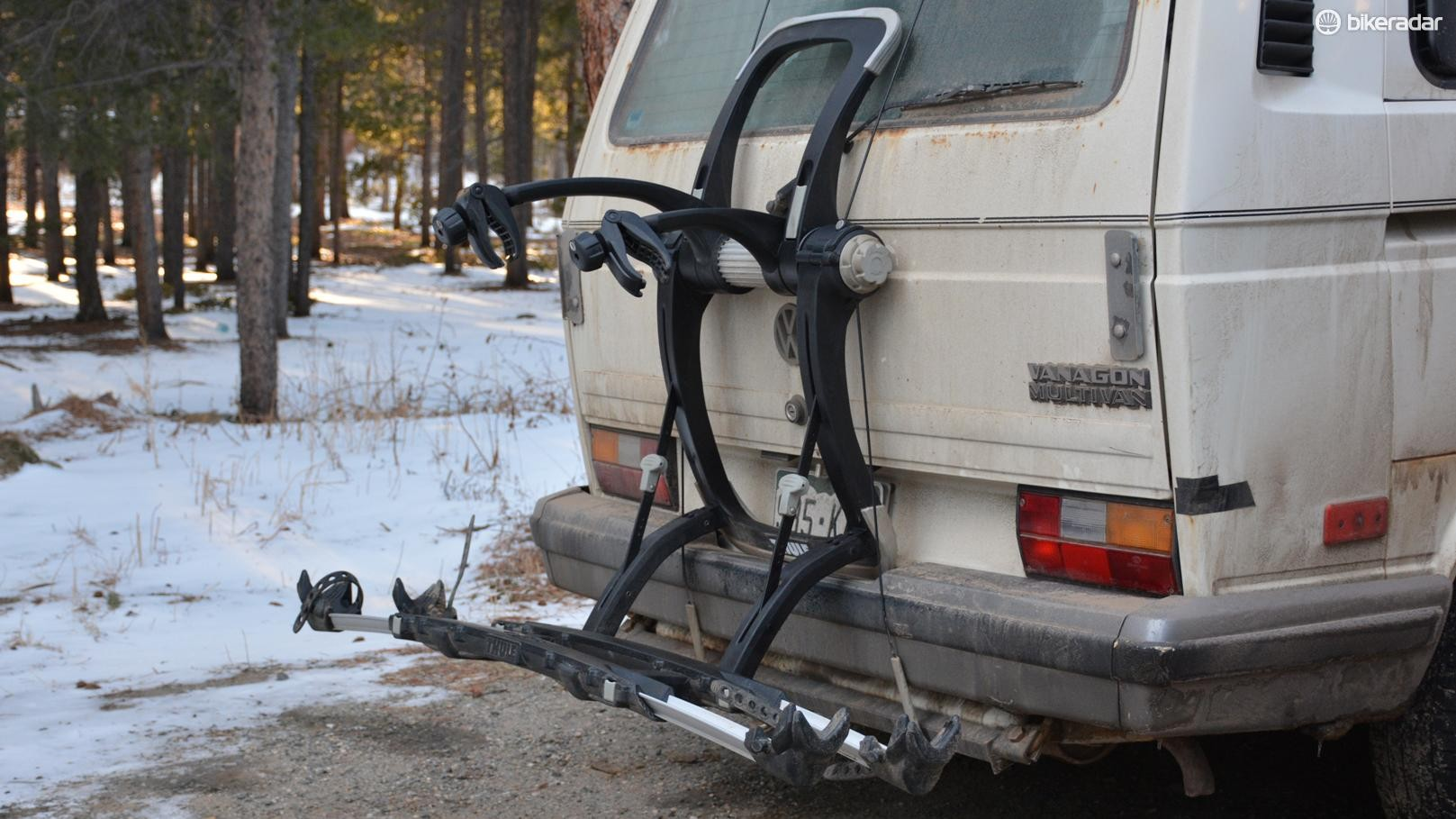 Thule's Raceway Platform Pro 2 rack is a rear-mount rack doing its best to be a hitch rack