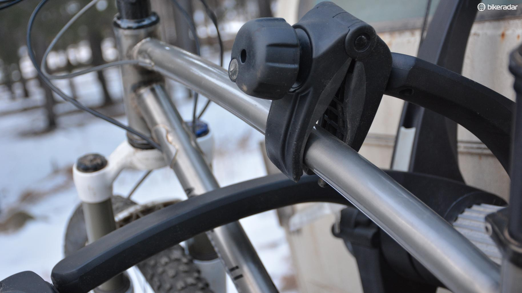 The rubberized clamps hold very tight on a variety of tube shapes