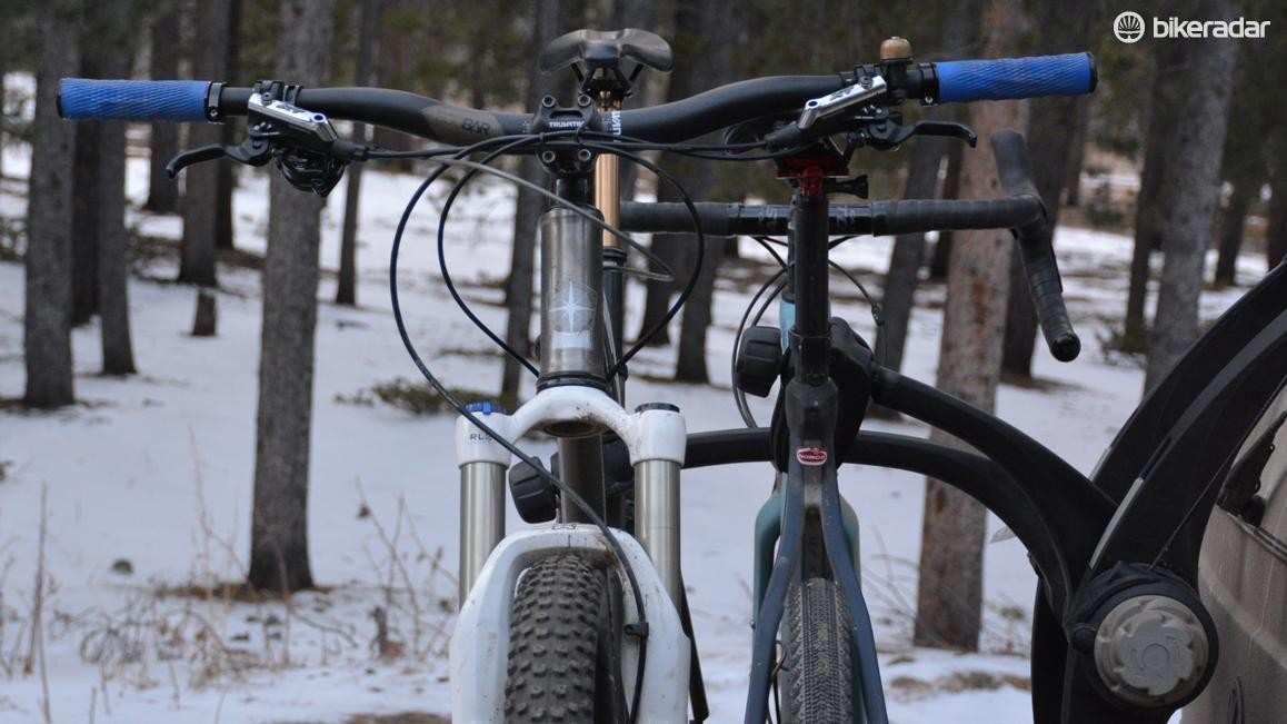 Spacing is narrow between the two bikes. Notice where the mountain bike's bar is in relation to the inner bike's saddle