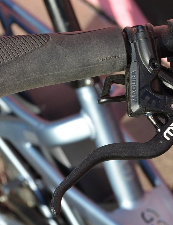 Ergonomic grips and strong four piston Magura disc brakes are smart specs for a bike of this nature