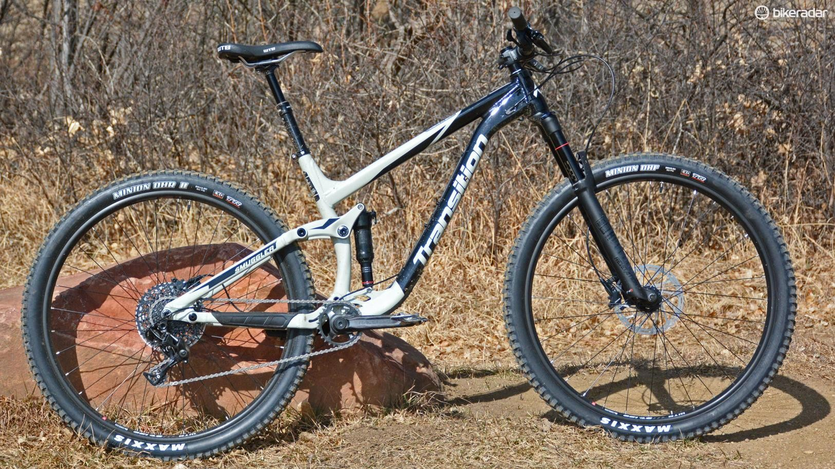 5d19ae2c28f Transition's aluminum Smuggler NX has 29in wheels and 140/120mm of front  and rear travel