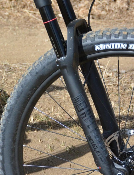 The 140mm travel RockShox Revelation RC fork has gotten bigger with 35mm stanchions