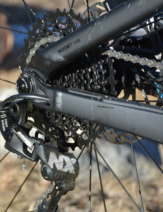 SRAM's 11-speed NX drivetrain never missed a shift or dropped a chain