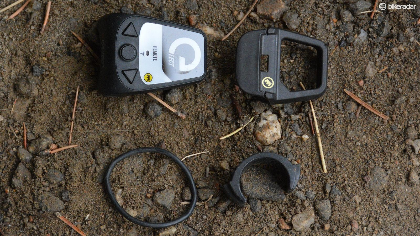 Shown here, clockwise from top left: remote, button cover, bar spacer, O-ring