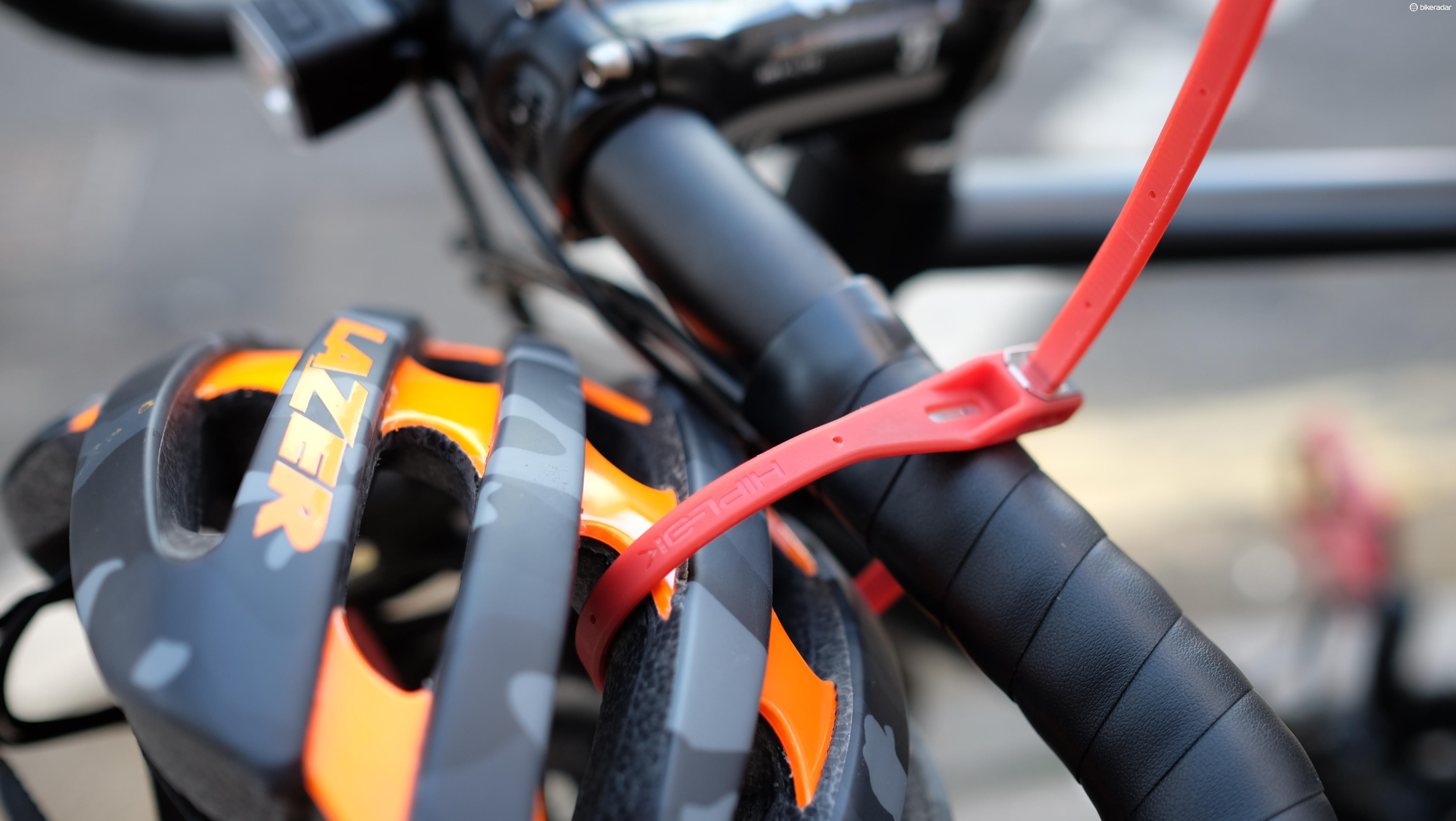 The Hiplok Z-Lok is ideal for temporarily securing helmets or other accessories