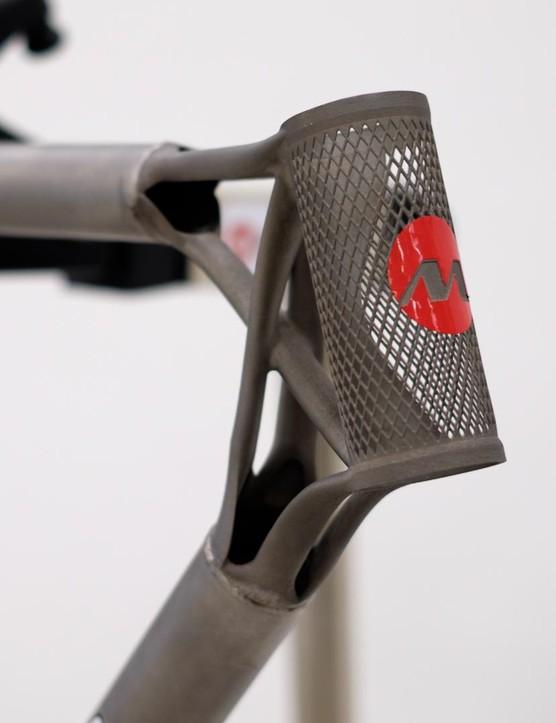 A closer look at the distinctive head tube lug on Mirada Pro's frame