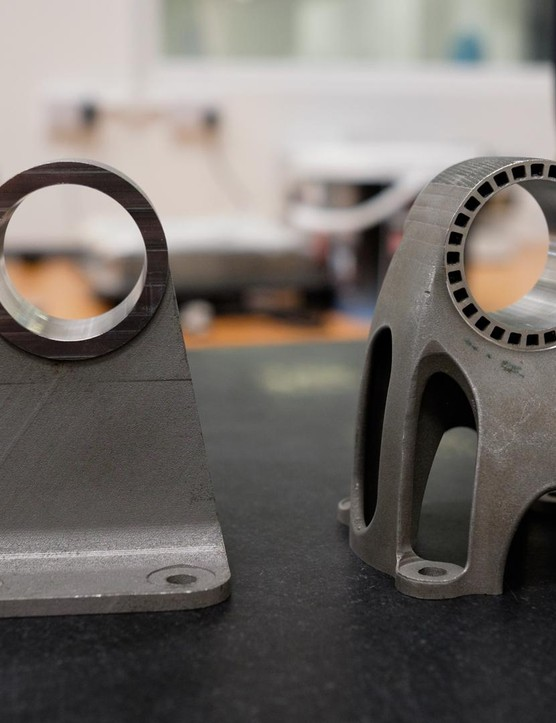 (L) CNC part is 50% heavier and wastes 68% more material than the 3D printed component (R)