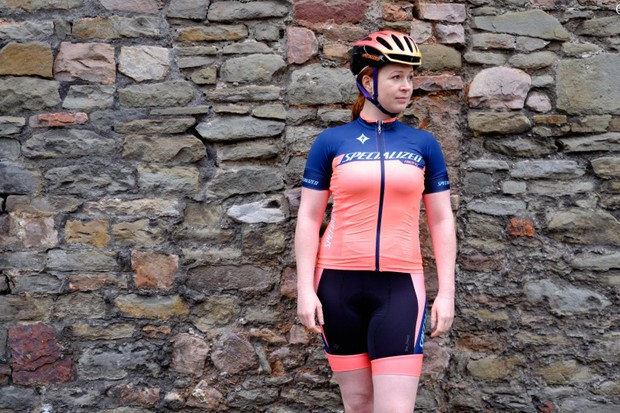 The Specialized Women's SL Pro jersey and bib shorts