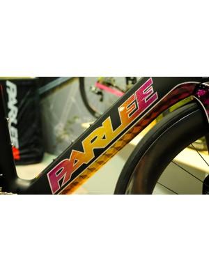 Big metal flakes on Parlee's TTIR tri bike
