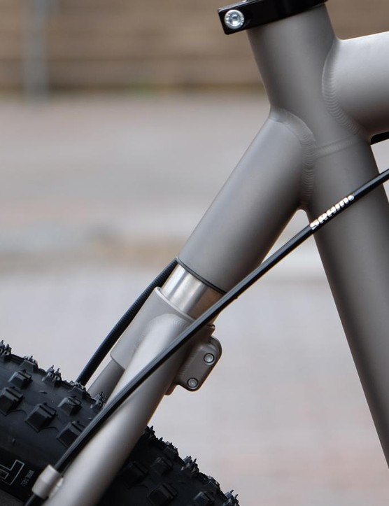 The YBB rear end has been modified for gravel use. Different elastomers can be used to adjust for rider weight