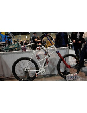 The Cal Poly Bike Builders Club brought several bikes to the show. This one, which appears to have been designed for beer-packing, garnered the most attention