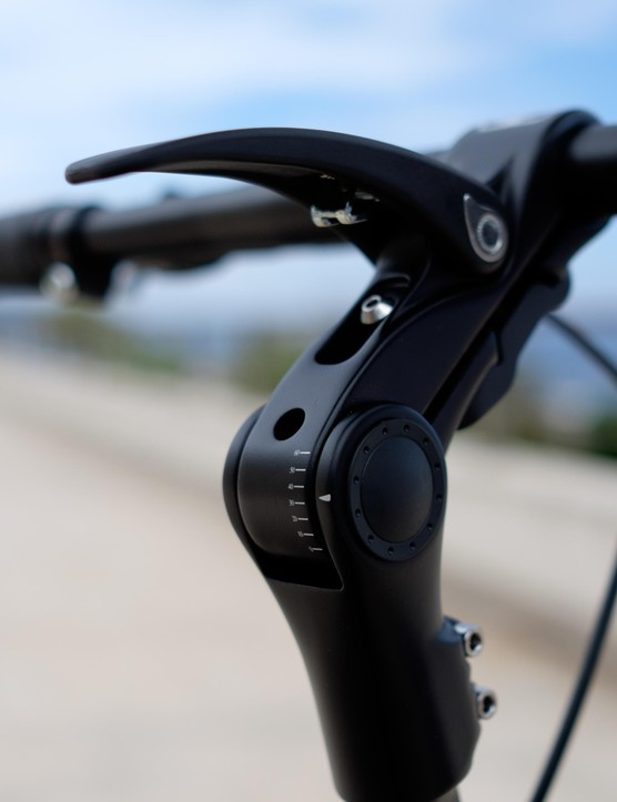 The JIVR's adjustable stem offers 55 degrees of movement