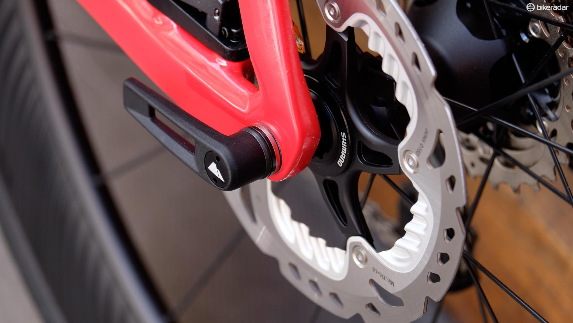 The Aeroad's thru-axle levers are rebranded components from DT-Swiss