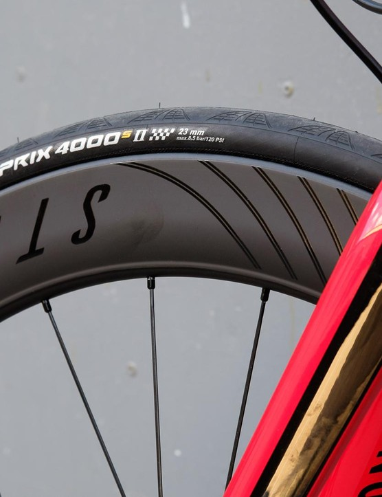 There's a narrower 23mm tyre up front and wider 25mm part at the rear, all in the name of aero gains