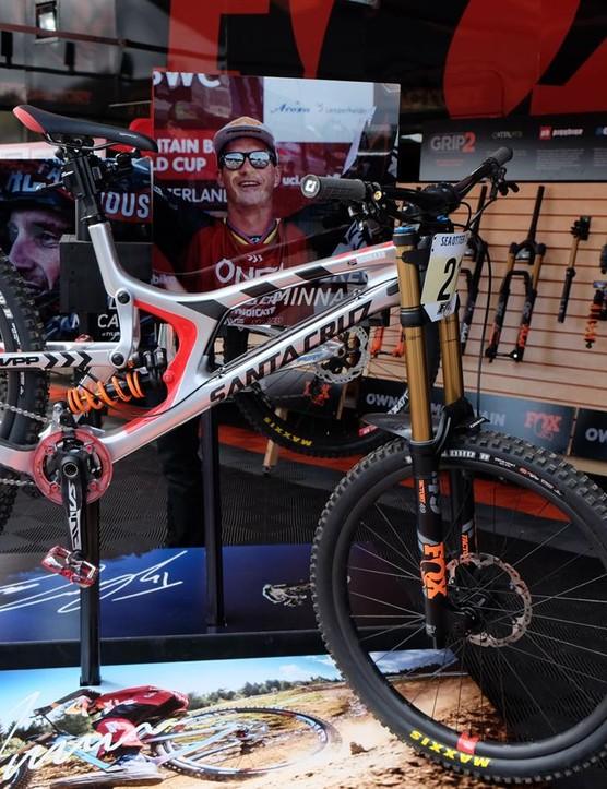 Greg Minnaar's Santa Cruz V10 29 was on display at the Fox booth