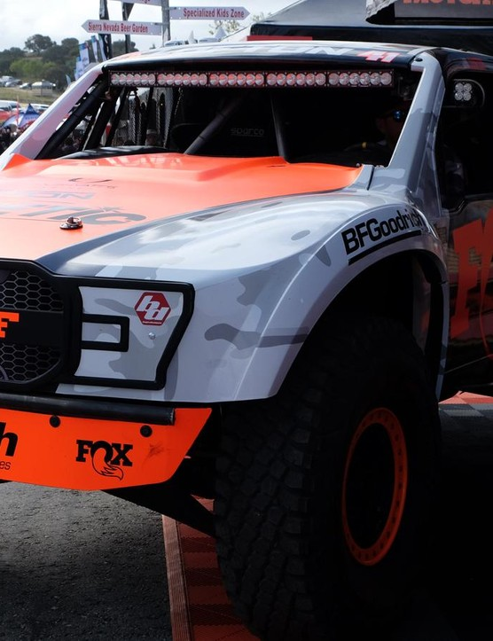Fox was clearly flexing its suspension muscles with this non-vegan friendly trophy truck parked in front of its booth