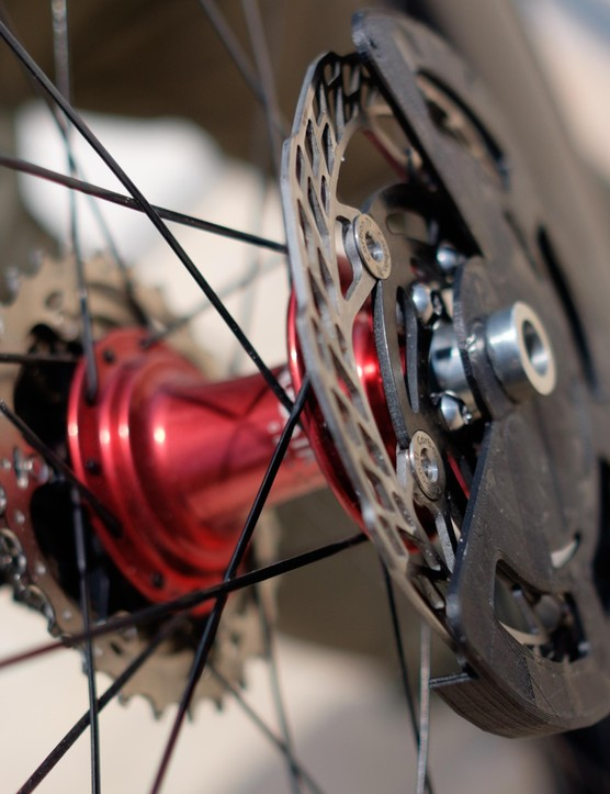 The patent-pending two-piece design fixes to the end cap of a wheel hub, meaning there should be no need to change or adapt the frame, wheelset or disc rotors themselves in order to install