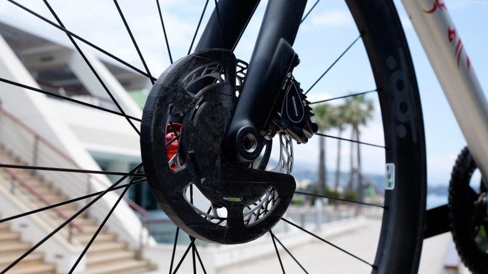 The prototype DonChisciotte disc brake guard from T°Red Bikes