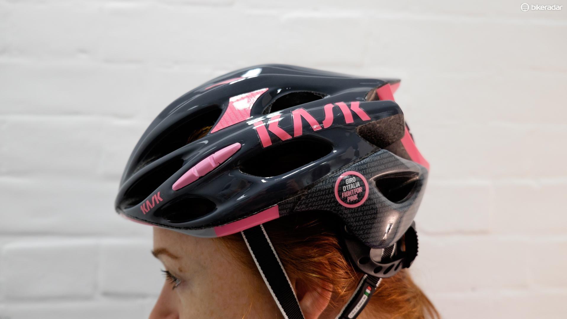 Kask's popular, lightweight Mojito model, in Giro d'Italia colours