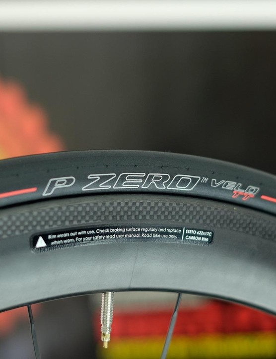 Red labelling means this is the PZero Velo TT, Pirelli's fastest, 23mm-only slick tyre