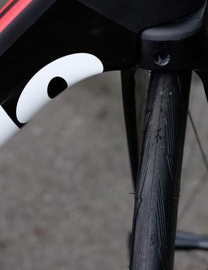 A closer look at the tread pattern on the Pirelli PZero Velo 4S clincher tyre