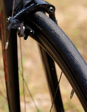 The tread pattern of the PZero Velo tyre mimics that of the company's Diablo Supercorsa motorcycle tyre