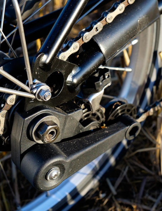 Simple 2-speed transmission holds a tiny weight penalty over singlespeed versions, but we'd still opt for the 3-speed