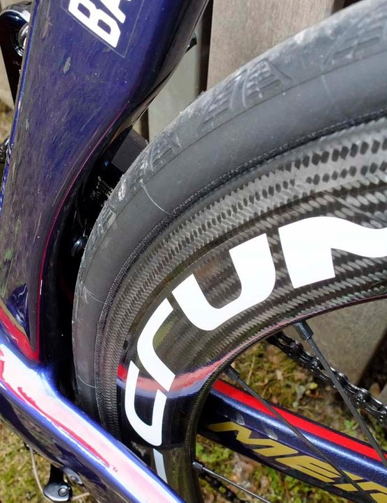 The seat tube is shaped to shield the rear wheel, but there's ample tyre clearance