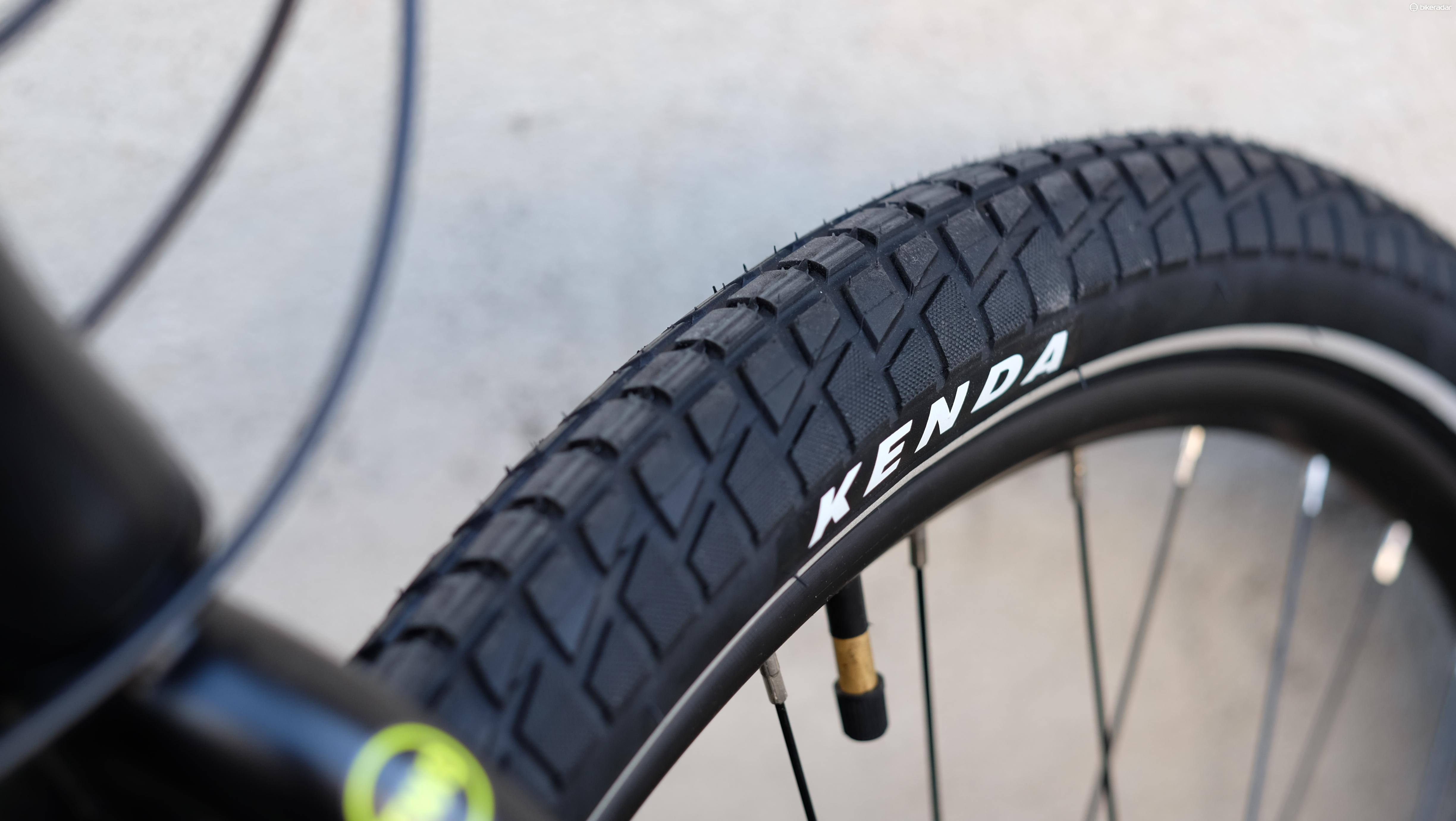 Branded tyres are great to see at this price, and the 1.95in width should go a long way to cushion the city streets