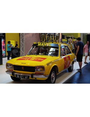 Mavic's retro Peugeot 504 team car proved a popular attraction