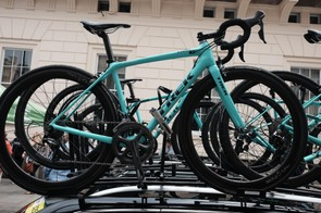 The Drops team is riding distinctive turquoise bikes from sponsor Trek