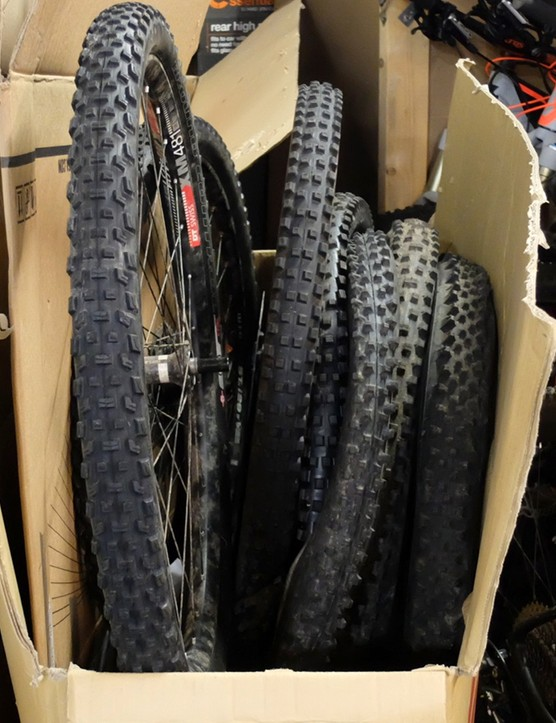 Mountain bike tech guru Seb hoards far more tyres than is strictly necessary