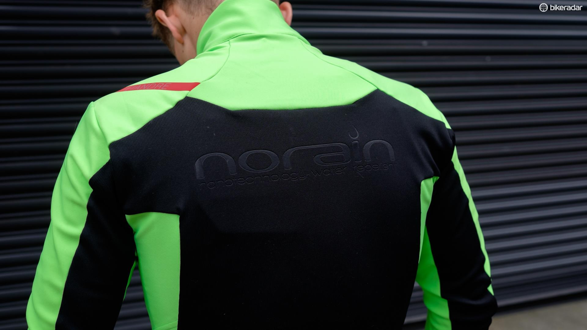 The rear panel is constructed from NoRain material for water repellent breathability