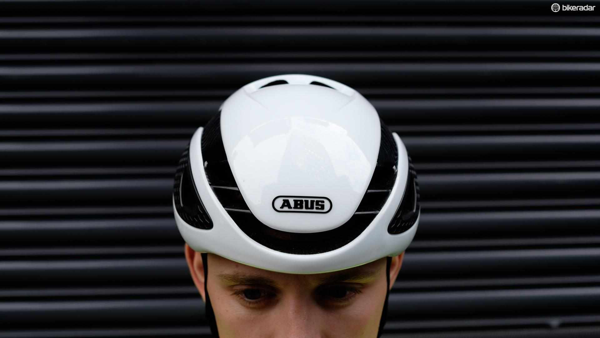 The helmet has a slim profile