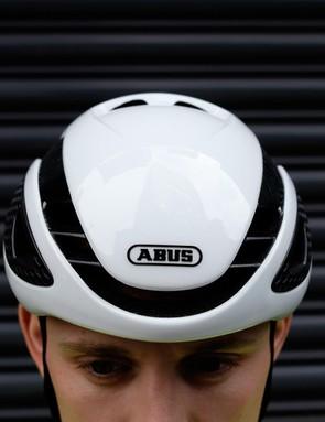 The helmet has a slim profile