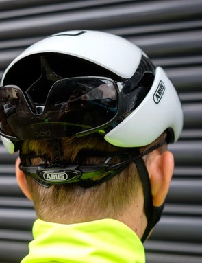 Glasses can be stored securely in the rear of the helmet out of the wind