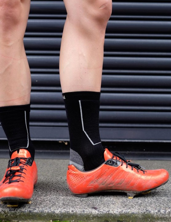 Merino wool 16 socks are high enough to keep the exposed lower shin warm in cold weather