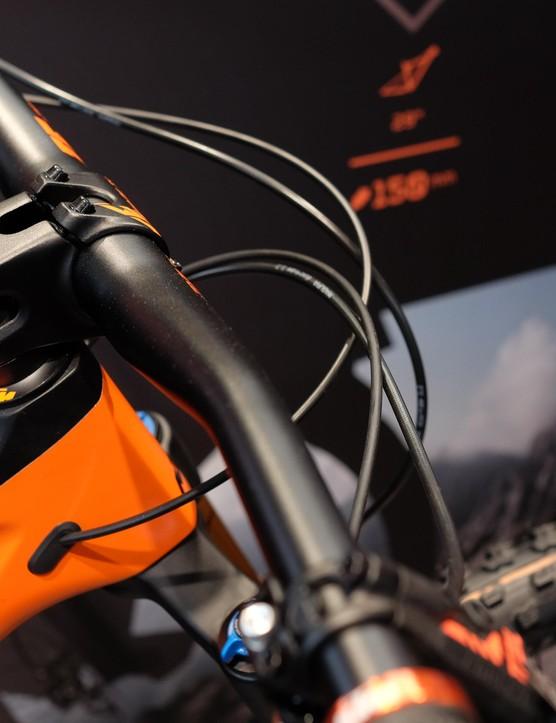 KTM branded 35mm handlebar and stem
