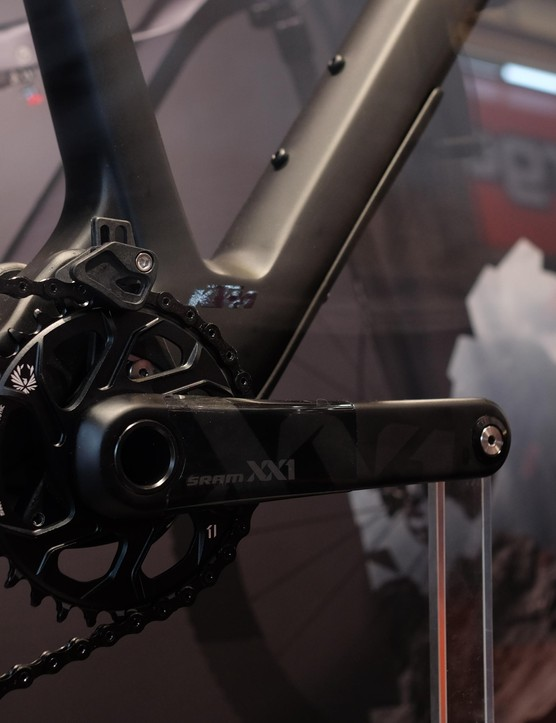 An adjustable chain guide adds extra security to SRAM's already secure Eagle XX1 drivetrain