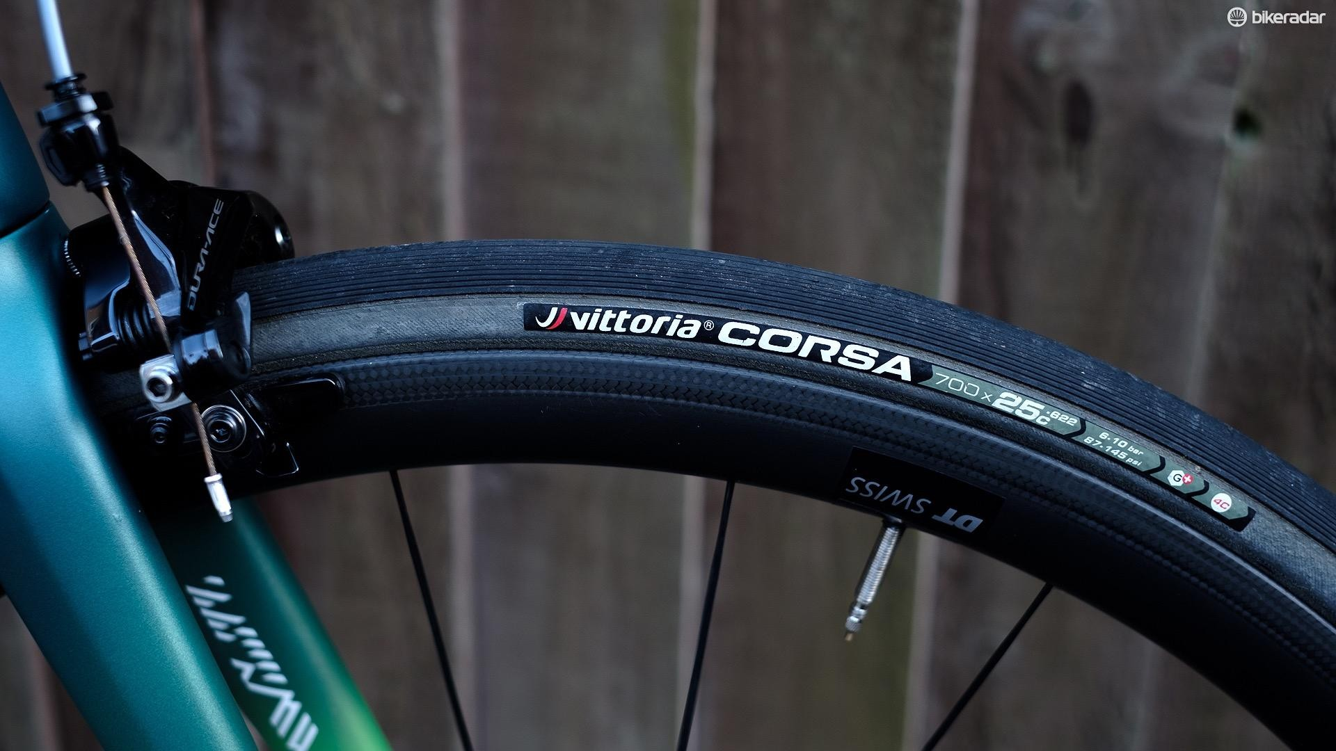 VIttoria Open Corsa G+ tyres offer plenty of grip and deliver a smooth, supple ride